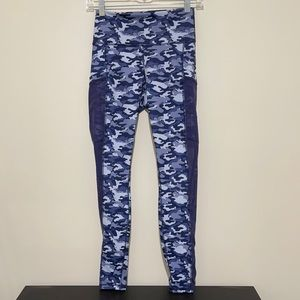 Like new Fabletics Power Hold Blue Camouflage Pant